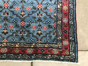 Antique Hand Knotted Wool Rug Organic Dyes Brilliant Indigo Blue Early 20th