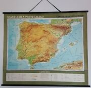 1968 Vintage Physical School Map Pull Down Map - Spain And Portugal 43 X 51