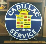 Ande Rooney 1st Edition Cadillac Service Porcelain Enameled Advertising Sign1986