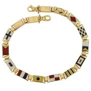 Yellow Gold 18kt 750/1000 With Colored Flags Shiny Man Bracelet