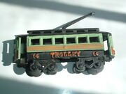 Antique Cast Iron Hand Painted Toy Trolley Car 14 Collectible 1950