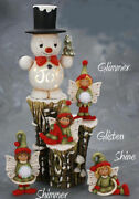 Ceramic Bisque Hand-painted Joy Snowman Small Stump And Fairies