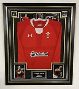 George North Signed Wales Rugby Shirt Framed Autograph Jersey Display