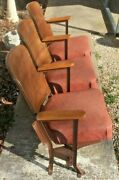 3 Antique Cinema Theater Chairs Movies Decor Art Deco Collectible Mid Century