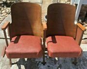 Antique Wood And Metal Folding Cinema Chairs Double Chairs Theater Decor Art Deco