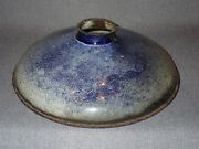 """10"""" Antique Blue And White Enamel Graniteware Industrial Lamp Shade 2 1/4"""" Fitter"""