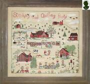 Stitching And Quilting Party W/button By Sara Cross Stitch Pattern