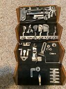 Antique 1889 Patented Singer Oak Puzzle Wooden Box And Sewing Attachments