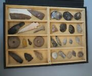 Superb Collection Old Cased Antique Native American And Neolithic Stone Tools Wow
