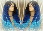 Goddess Locs Blue Ombre Curly Synthetic Mermaid Drag Queen Cosplay Wig Carnival