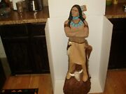 Vintage 3.5 Ft. Native American Indian Warrior-chef Chalkware- Statue