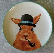 Lot - 4 Easter Bunny Rabbit Dressed In Hats Fashion Ceramic 8 Plates Watercolor