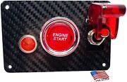 Real Carbon Fiber Switch Panel - 1 Red Switch Indicator Light Red Push Start