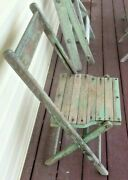 2 Antique Teal Wooden Folding Chairs Primitive Decor Collectible