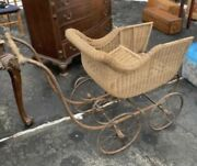 Vintage Antique Victorian Wicker Baby/doll Buggy Carriage Stroller