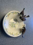 Rare 1930s Goldscheider Figural Bowl Signed Neuwirth With Birds On Edge