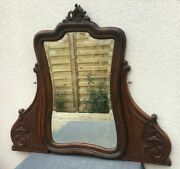 Large Antique Black Forest Rotating Mirror Early1900's Woodwork Dresser 30 Tall