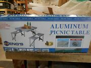 Aluminum 4 Seat Folding Picnic Table With Carrying Case Free Shipping
