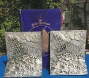 Silver-plated Nautical Bookends, Stormy Waters, Art Deco, Sailing, Circa 1927