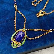 Vtg Mma Egyptian Revival Gold Plated Enamel Scarab Lapis Beaded Swag Necklace