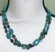 Barse Sterling Silver Two Strand Green And Blue Turquoise Necklace 18 46 Grams