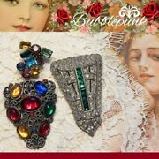 Antique Vintage Multi-color Rhinestone Clip Pin Lot Estate Jewelry Buy-out