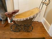 Antique Rabbit Bunny Head Wicker Baby Doll Carriage Art Piece Objects