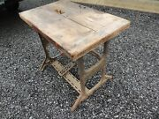 Antique Vintage Foot Pedal Saw Table Solid Wood Top Iron Base Industrial Design