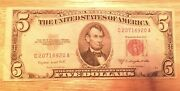 1953 A 5 Dollar Bill Red Seal Bank Note Old Paper Money Silver Certificate