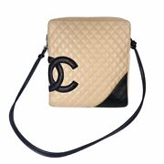 Cambon Large Crossbody Messenger Bag Cc Logo Quilted Leather Beige