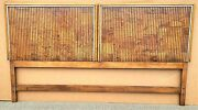 Vtg 1970and039s Mcm American Of Martinsville Burl Wood Campaign Style King Headboard