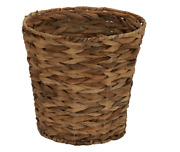 Natural Waste Basket Woven Water Hyacinth Round Bathroom Office Home Trash Can