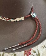 Unique New Beaded Hatband Hat Band Genuine Zuni Turquoise Sterling Silver Bolo