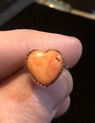 Sterling Silver Native American Spiny Oyster Heart Rings Sz9 1/2 Not Scrap 23