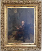 Antique European Oil On Canvas Painting Signed Ar1072