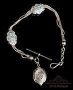 Antique Silver Pocket Watch Chain. With Enamel Decoration + Photo. 19th Century