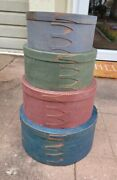 Primitive Wooden Round Shaker Boxes 4 Box Set Painted Copper Nail Rare