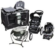Baby Stroller With Car Seat Bedside Sleeper Swing Black Travel System Combo Set