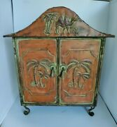 Adorable Little Tin Metal Cupboard Storage Chest W Palmtrees And Camel 21 Tall