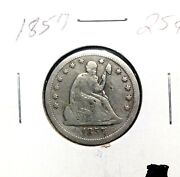 1857 Philadelphia Mint Silver Seated Liberty Quarter 25c Early Collector Coin