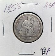1855 Philadelphia Mint Silver Seated Liberty Quarter 25c Early Collector Coin Vf