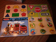 4 Melissa And Doug Wooden Puzzle Lot 2 With Sound Train Animals New Batteries