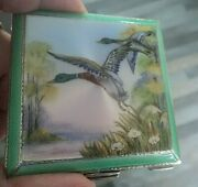 Super Sterling Silver Enamel Flying Geese Compact H/m 1948 Henry Clifford Davies