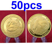 50pcs/lot Dogecoin Crypto Coin Gold Plated Collectible Commemorative Coins