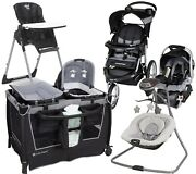 Baby Trend Shower Present Stroller With Car Seat Playard Swing Chair Combo Set