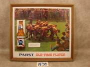 N38b Vintage Rare Pabst Blue Ribbon Beer Pbr Sign W Raised Bottle Rugby Football