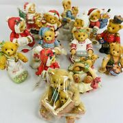 Huge Lot Of 14 Cherished Teddies Figurines Ornaments Christmas Commerative Boxes