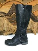 Enzo Angiolini Womens Black Leather Riding Tall Boots Size 11 M  0813