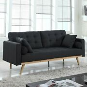 Mid-century Sofa Vintage Style Couch With Wood Frame And Legs, Tufted, Dark Grey
