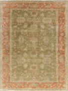 Antique Oushak Turkish Moss Green Area Rug Hand-knotted Oriental Carpet 8x10